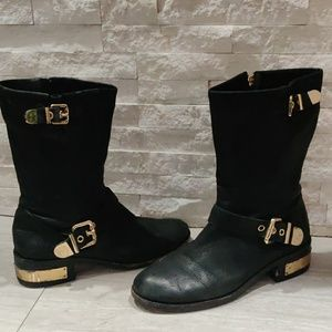 Vince Camuto. Black and gold accent boots